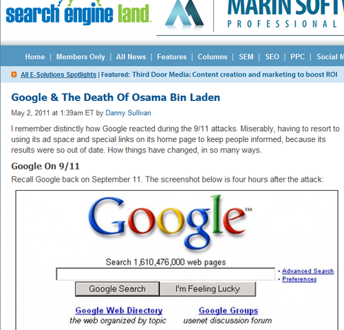 Search Engine Land Bin Laden Google
