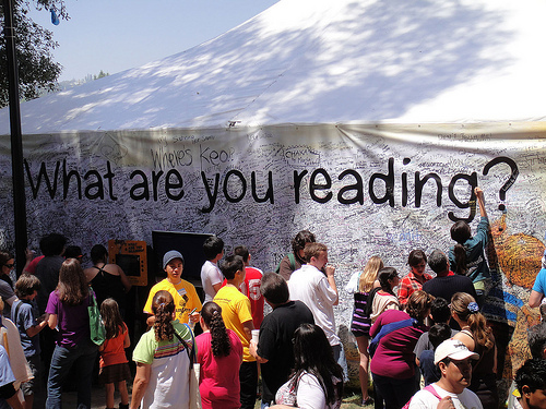 Huge Banner Asking What Are You Reading?