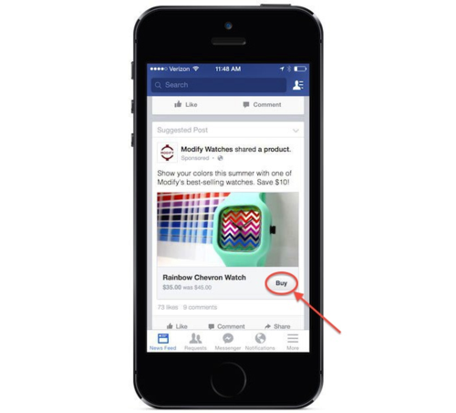 Facebook Tests Buy Button