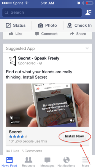 Facebok Mobile App Install Ads