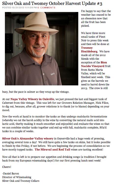 Cabernet Blog: Silver Oak Cellars' Daniel Baron