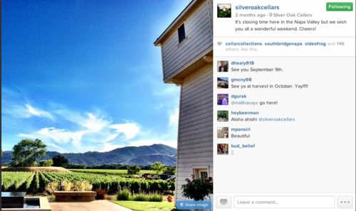 Instagram Silver Oaks Cellar Tower and Mountains