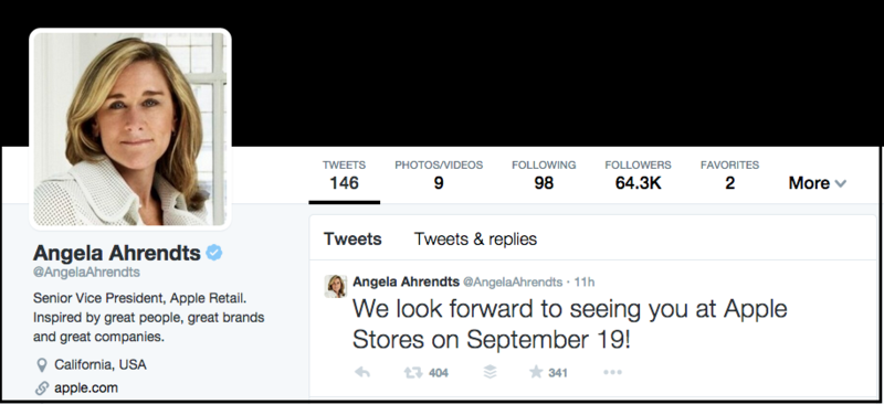 Angela Ahrendts Sept 9 Tweet