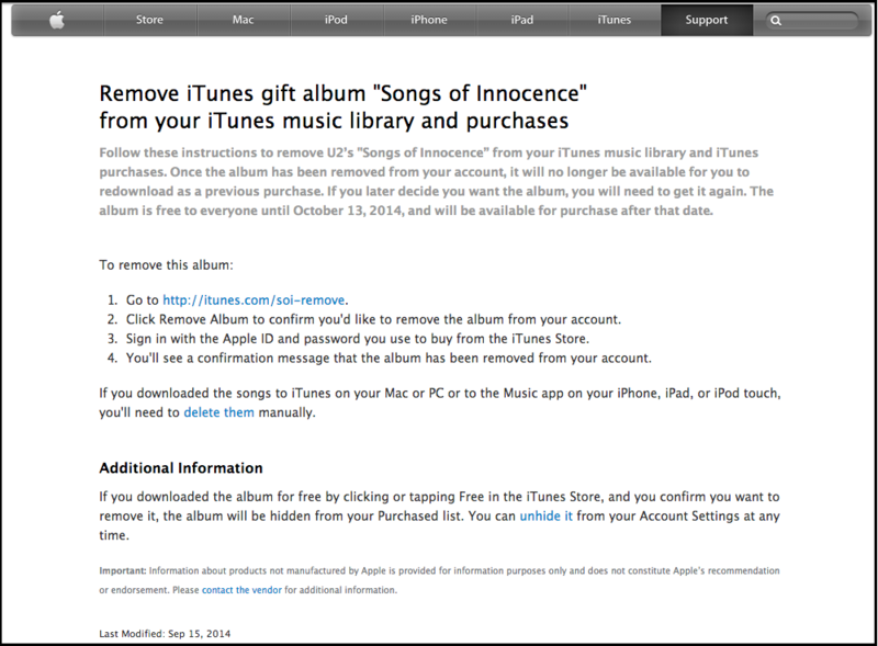 Apple Support Page to Remove U2 Songs of Innocence from iTunes Music Library 10.01.15 PM