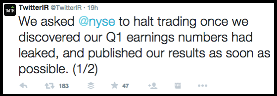 Twitter IR Asks NYSE to Halt Trading