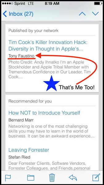 IPhone LinkedIn Screenshot of Published in Your Network